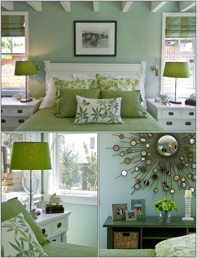 Viscusi Elson Interior Design This room brings to mind the freshness of citrus lime with its elegant and ever popular combination of white and lime green. The furniture and the ceiling of the room are in white. With this the walls, bedding and table lamps are in green. To add a bit more spark a mirror is also hung just above the console table.