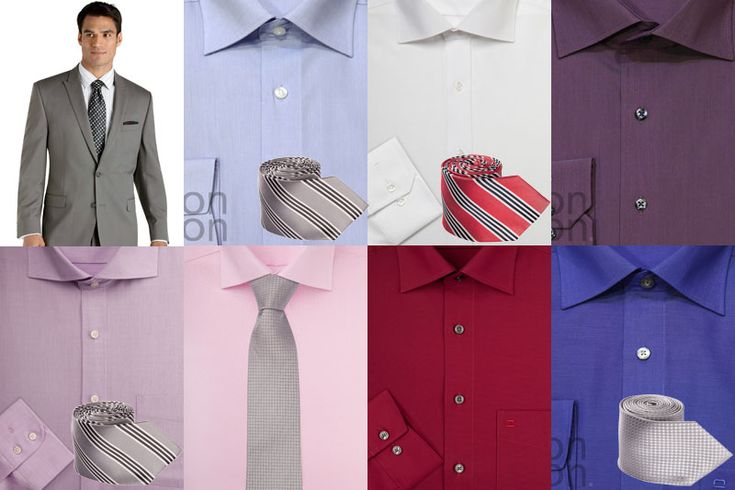 рубашки из цветовой гаммы белого, слоновой кости, голубого, розового оттенков, а также более яркие васильковые, красные, сиреневые и лиловые цвета. Выбор рубашки для серого костюма в большей мере будет зависеть от торжественности события; галстук практически любого цвета, так как серый нейтрален сам по себе, стоит помнить, что светло-розовые рубашки прекрасно сочетаются с бордовыми или темно-синими галстуками; черные ботинки и серые или темно-серые носки, темнее костюма