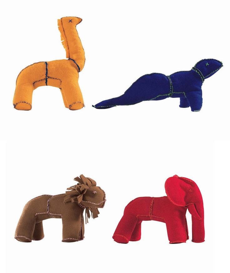 """Driade, I-CHING, Vittorio Locatelli. V Various colours wool modular animals in a white cotton piquet packing composed by unit of four different animals. The lion Ch'ien (H 14 x's L 21 x's l 12 cm), the giraffe Sun (H 22 x's L 17 x's l 13 cm), the elephant K'un (H 15,5 x's L 21 x's l 13 cm) and the seal Tui (H 21 x's L 30 x's l 14 cm) are inspired by I Ching, the chinese book """" """"the book of the changes""""."""