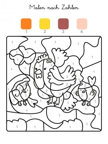 Kostenlose Malvorlage Malen nach Zahlen: Hühner ausmalen