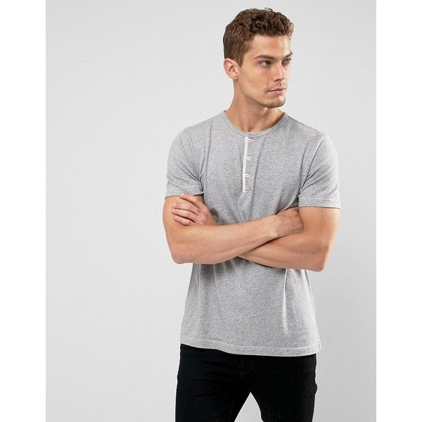 Abercrombie & Fitch Henley T-Shirt White Label Slim Fit in Gray Marl ($30) ❤ liked on Polyvore featuring men's fashion, men's clothing, men's shirts, men's t-shirts, grey, mens slim t shirts, american eagle men's t shirts, men's white crew neck t shirts, mens henley shirts and mens tall shirts