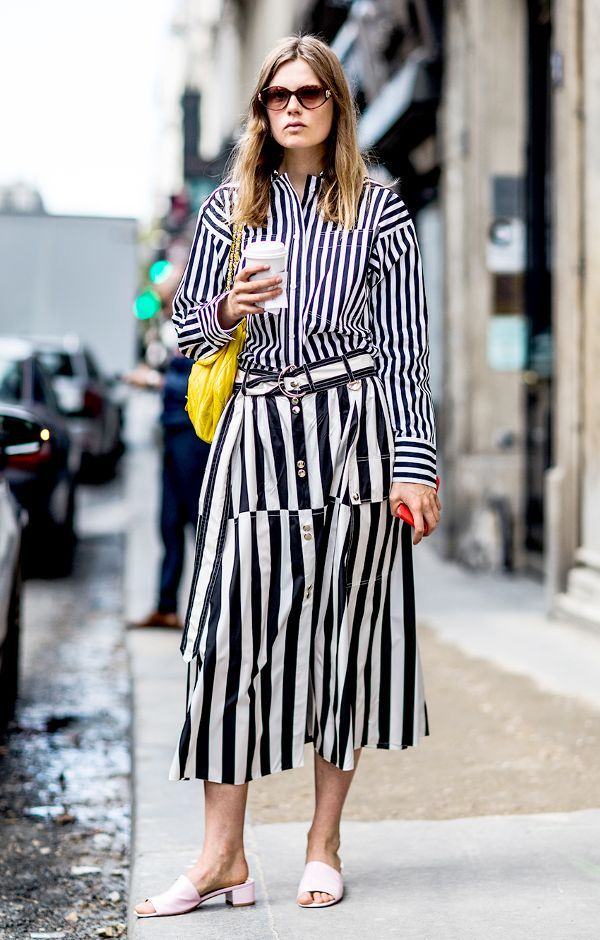 Vertical striped dresses for an elongated look    For more style inspiration visit 40plusstyle.com