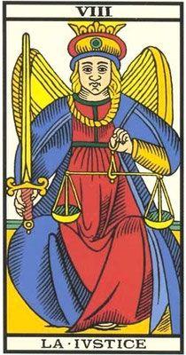 Interprétation de l'arcane de La Justice dans le jeu du tarot de Marseille. - Apprendre le Tarot de Marseille, le Tarot Divinatoire