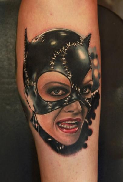 Portrait Realistic Catwoman Tattoo by Rich Pineda Tattoo