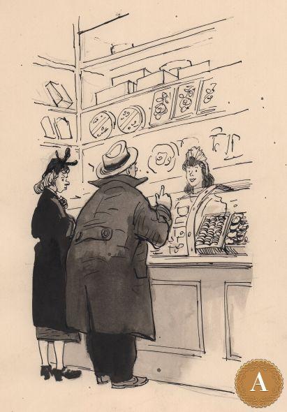 Книжная иллюстрация «В магазине», художник И. Семенов