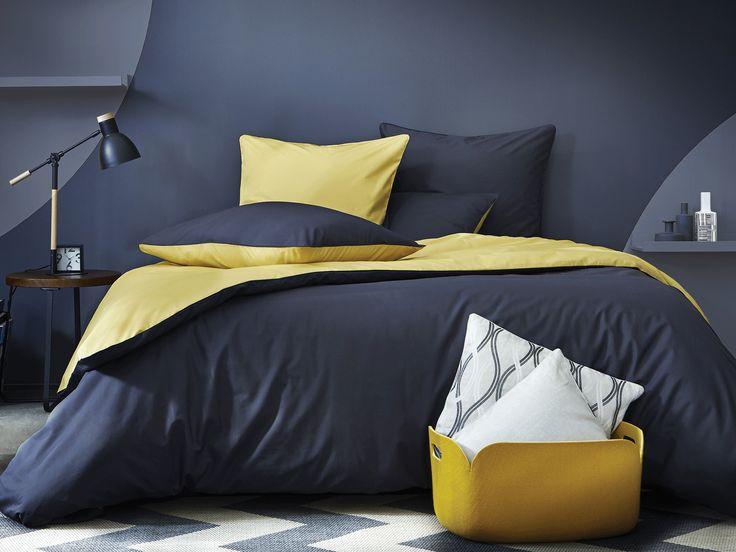 Parure de lit complicité gourmande gris anthracite et jaune miel en percale de coton - Blanc Cerise