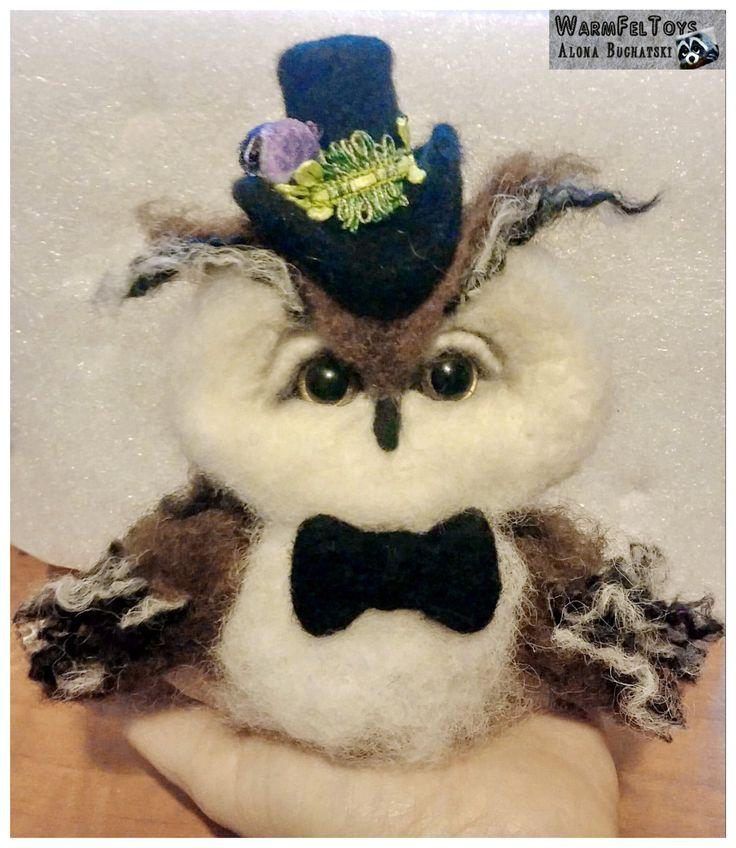 Gentleman Owl. Needle Felt Decoration. Home Decor. by WarmFelToys on Etsy
