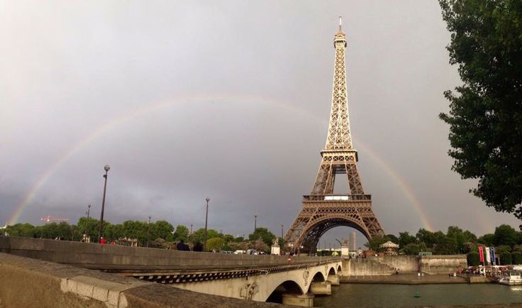 Paris , eiffel tower full rainbow
