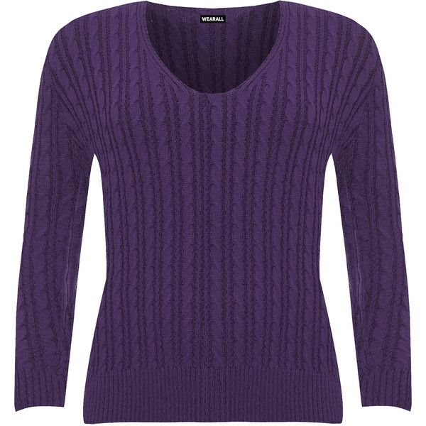WearAll Plus Size Cable Knit Long Sleeve Knitted Jumper ($27) ❤ liked on Polyvore featuring tops, sweaters, purple, plus size long sweaters, v neck cable knit sweater, cable knit sweater, long sleeve tops and cable-knit sweater