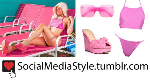 Buy Kylie Jenner's Flaunt Magazine Pink Square Sunglasses, Halter Top Bikini, and Wedges, here!