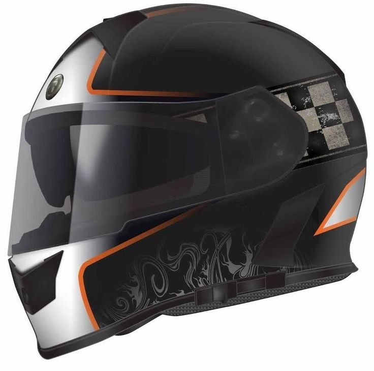 Mako Champion Orange Motorcycle Helmet DOT