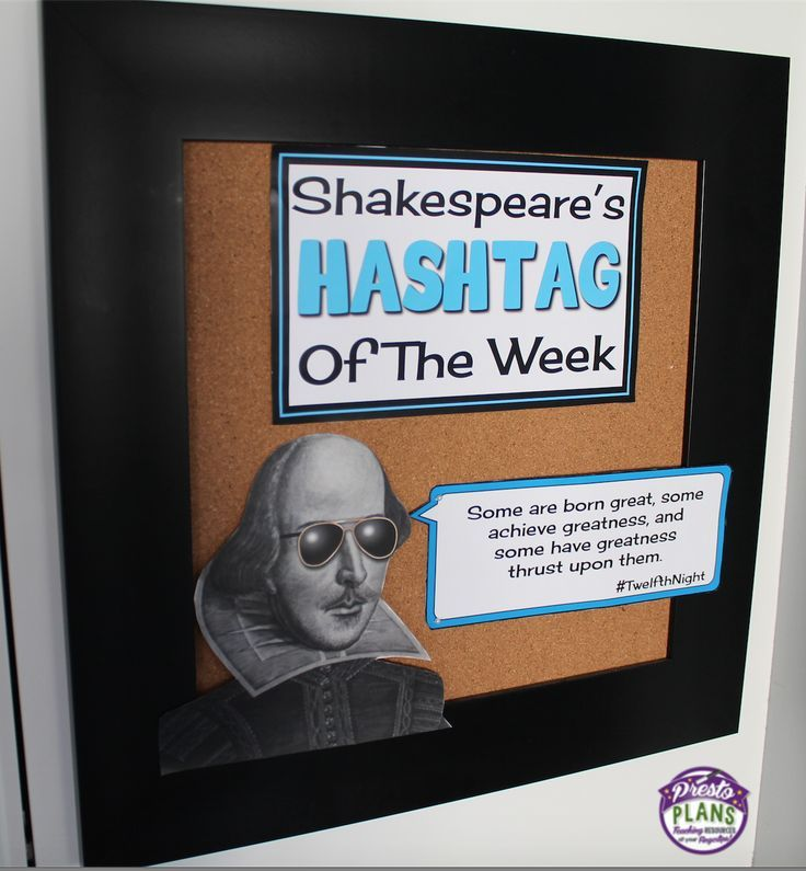 Shakespeare's Hashtag Of The Week: Eye-catching classroom quote display