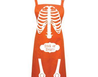 Halloween Scheletro trucco o trattare grembiule - 16 colori - Costume di Halloween, grembiule, grembiule di scheletro - 1018