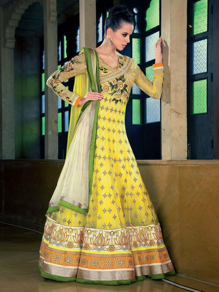 Yellow Net Anarkali Suit With Resham Work Product Code - SKDAA0821