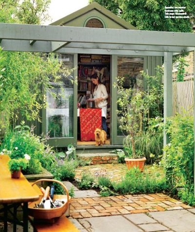 Love the garden as extension of house...aromatic herbs and pergoda