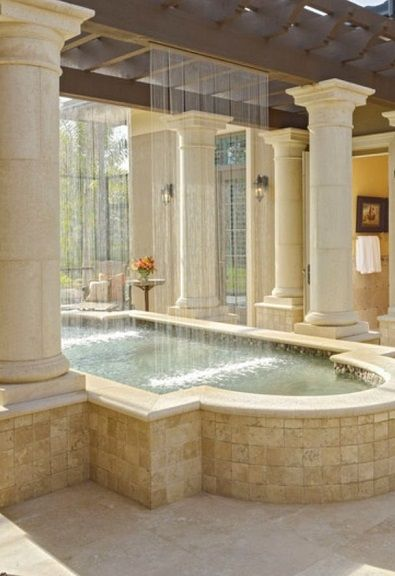 Entrance way welcome pond dream houses and great idea 39 s for Luxury pools with waterfalls