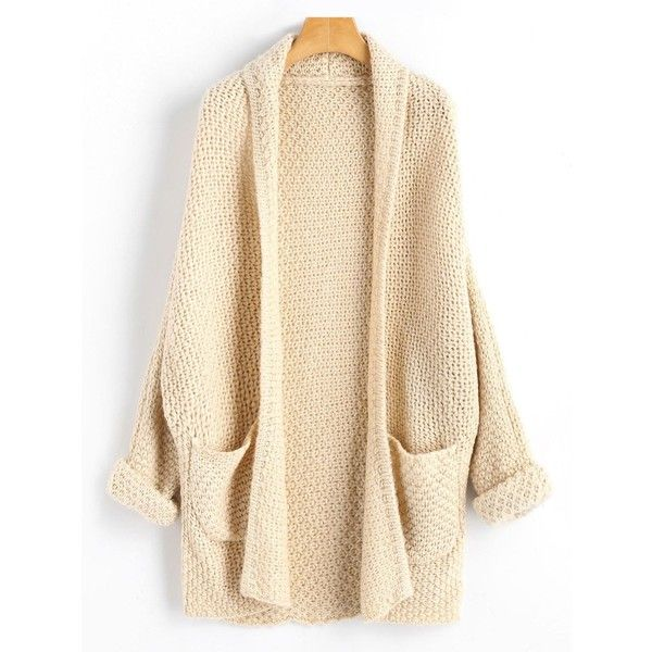 Light Apricot ONE SIZE Open Front Curled Sleeve Batwing Cardigan ($21) ❤ liked on Polyvore featuring tops, cardigans, beige cardigan, open front cardigan, sleeve top, short-sleeve cardigan and batwing cardigan