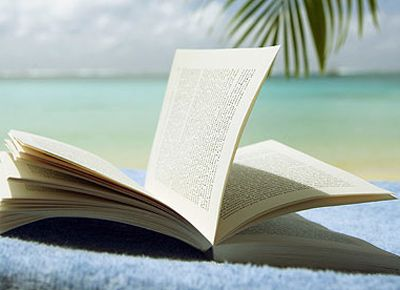 Reading at the beach...Crosses Stitches Bookmarks, Open Book, Summer Book, Openbook, Beach Bags, At The Beach, Reading Lists, Book Series, Tropical Beach