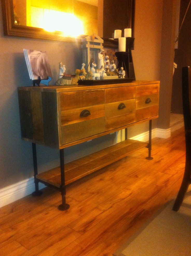 Sideboard made from reclaimed fir with black pipe legs and soft close drawers turnerwoodart for Bedroom furniture soft close drawers