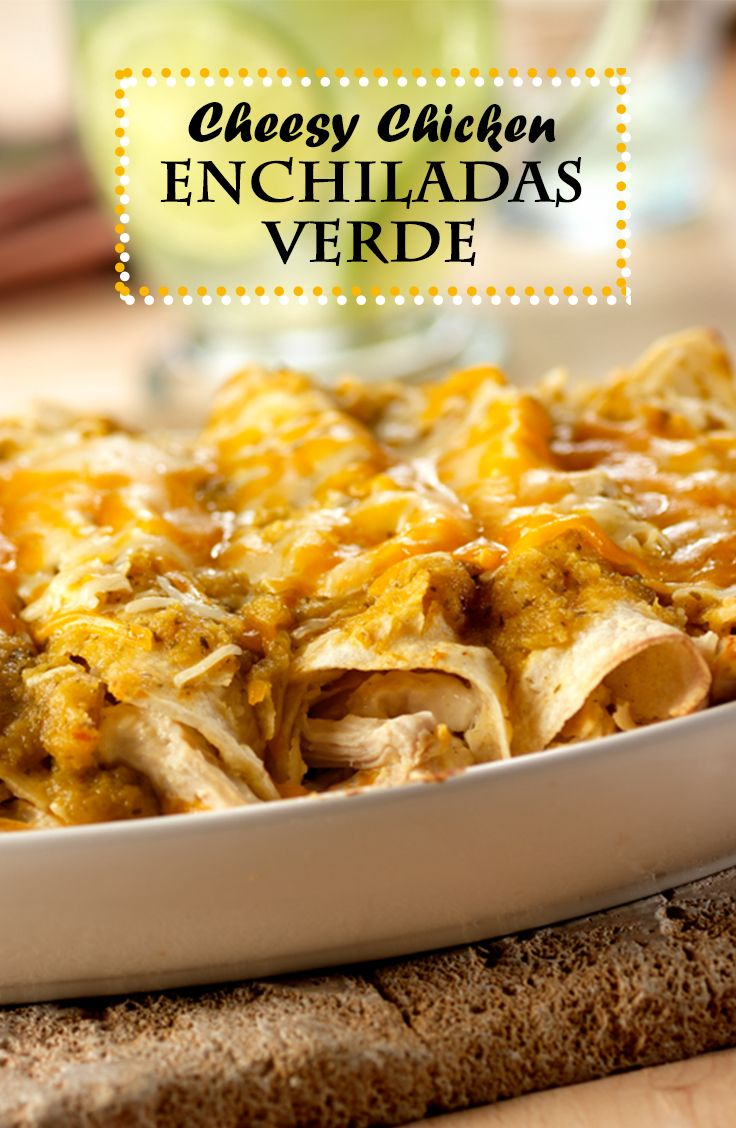 Cheesy Chicken Enchiladas Verde Recipe - The salsa verde in this recipe combines the smoky flavor of Spanish paprika with the bright flavors of tomatillo and lime to make these cheesy enchiladas stand out from the rest!
