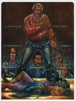 Artwork by Augie Pagan of the Classic TV show Sanford and Son with Fred Sanford giving Esther Anderson five across the lips.