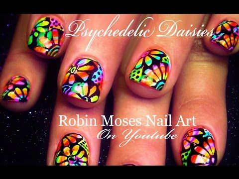 Psychedelic Neon Daisy Nails | Flower Power Hippie Nail Art Design - YouTube