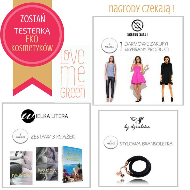 """Słyszałyście już? Z przyjemnością informujemy, że jesteśmy partnerem akcji """"Zostań testerką eko kosmetyków Love Me Green"""", w której możecie nie tylko testować świetne ekologiczne kosmetyki, ale też wygrać ciekawe nagrody, np. darmowe zakupy w naszym sklepie! Zapraszamy do udziału w akcji: http://bit.ly/1IFuDUa"""
