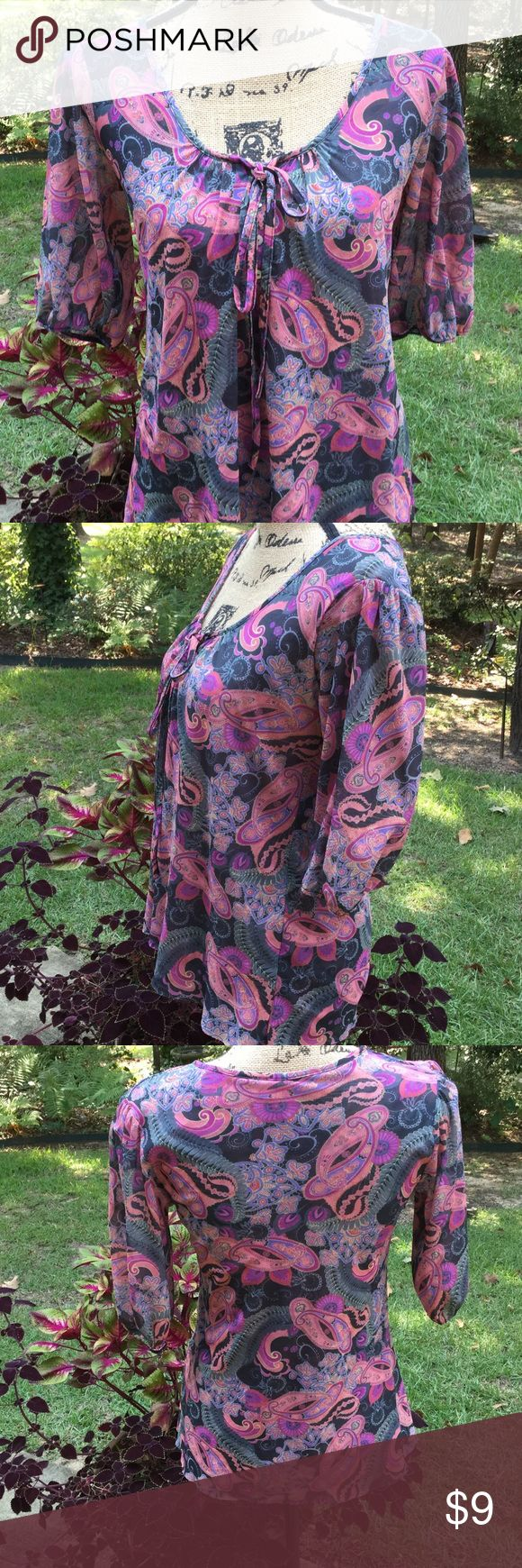 Paisley top Daisy &Clover top. Gray, pink, purple back. Three quarter sleeve. Daisy & Clover Tops Blouses
