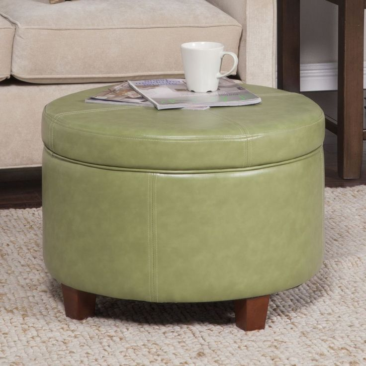 Cocktail Storage Ottoman Round Faux Leather Large Moss Green Wood Furniture New #HomePop #Transitional #Storage #Ottoman #Furniture #Round