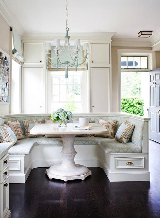 Anne Hepfer Designs: Contemporary cottage style dining room with U shape banquette with lots of storage. U ...