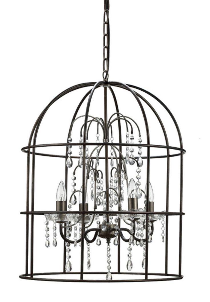 Creative Co Op Turn Of The Century Metal Birdcage 4 Light Chandelier