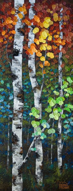 "New Painting Commission ""First Impression"" 16″×40″ Colourful Autumn Inspired Aspen and Birch Tree Painting by Alberta Landscape Painter Melissa McKinnon"