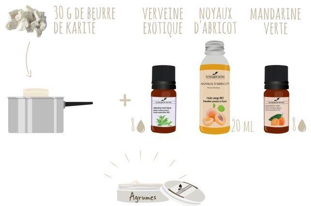 Créer son propre beurre corporel aux agrumes avec 4 ingrédients !   - 30 g de beurre de Karité   - 20 mL d'huile végétale de Noyaux d'Abricot   - 8 gouttes d'huile essentielle de Mandarine Verte   - 8 gouttes d'huile essentielle de Verveine Exotique