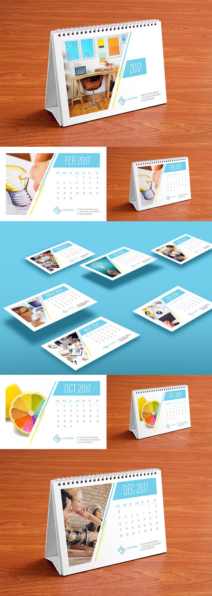 Table Calendar Design Template and Mock-up PSD 2017