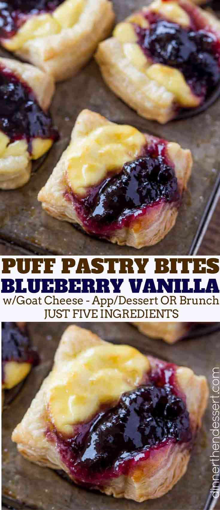 Blueberry Vanilla Goat Cheese Pastry Bites with just five ingredients are the easiest appetizers you'll ever serve your guests. Perfect for the holidays!