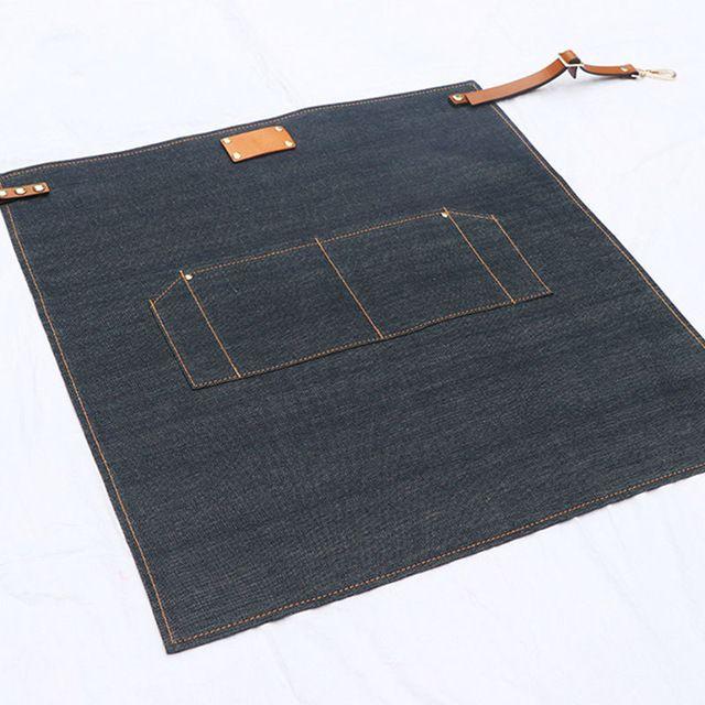 Half Length Blue Denim Apron w/ Leather Straps Barber Barista Florist Cafe Bar Bistro Uniform Waiter Craft-men Workwear K24