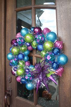 Green, pink, purple and blue Christmas wreath