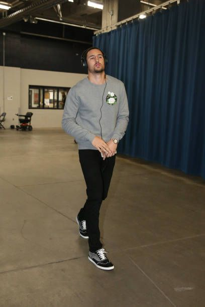 Klay Thompson of the Golden State Warriors arrives before the game against the Oklahoma City Thunder on November 22 2017 at Chesapeake Energy Arena...