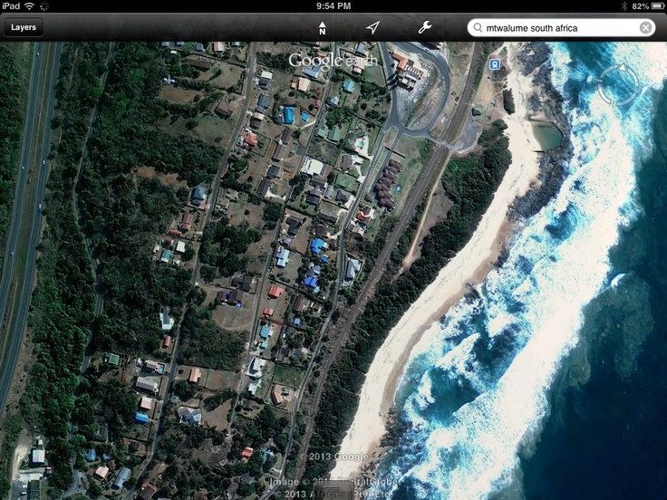 Sky view of Mtwalume, South Africa. Been there!