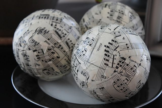 DIY Musical Orbs - Old sheet music, a foam ball and modge podge.