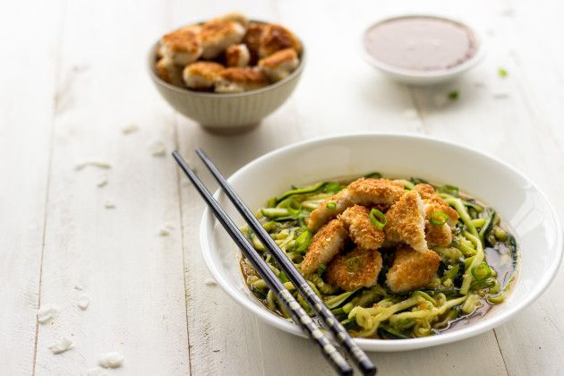 Honey Garlic Chicken with a crunchy coconut coating and zucchini noodles for a healthy meal. Who needs takeout with homemade food like...