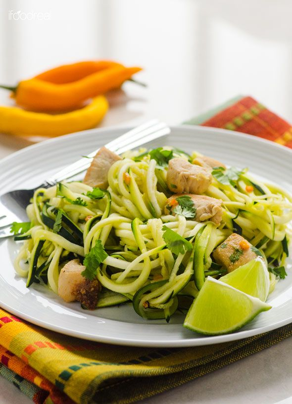 Zucchini Noodles with Cilantro Lime Chicken / #lowcarb shared on https://facebook.com/lowcarbzen