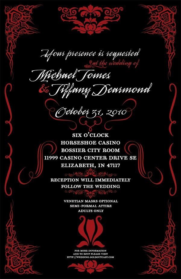 Masquerade Wedding Invitation by greymatterdesign.deviantart.com