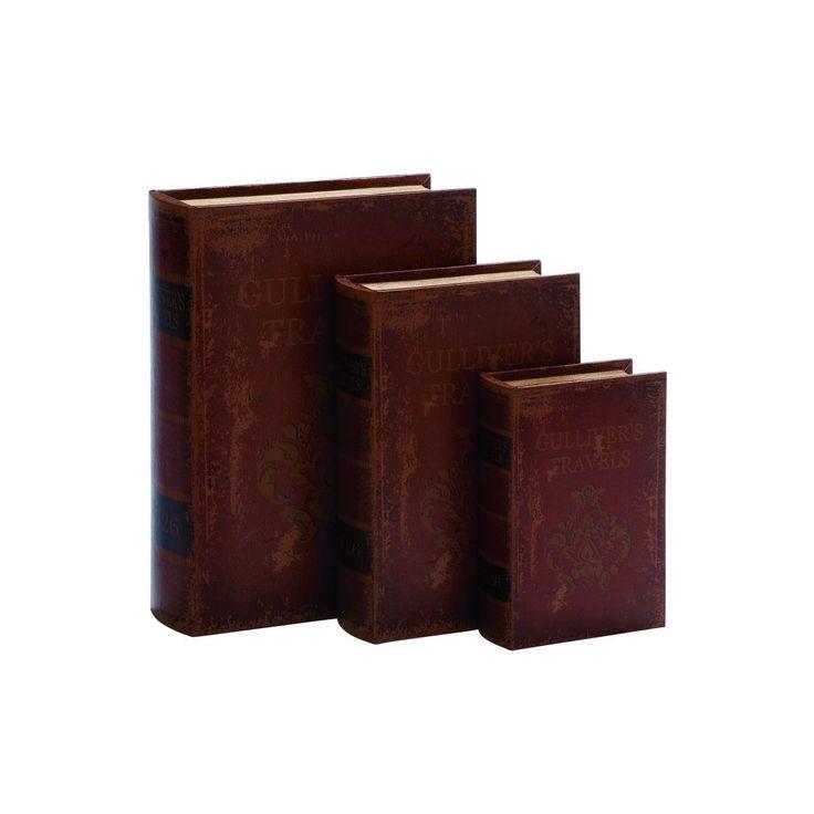 Superb Enterprises Set of Red Tan Black MDF Wood and Leather Book Boxes