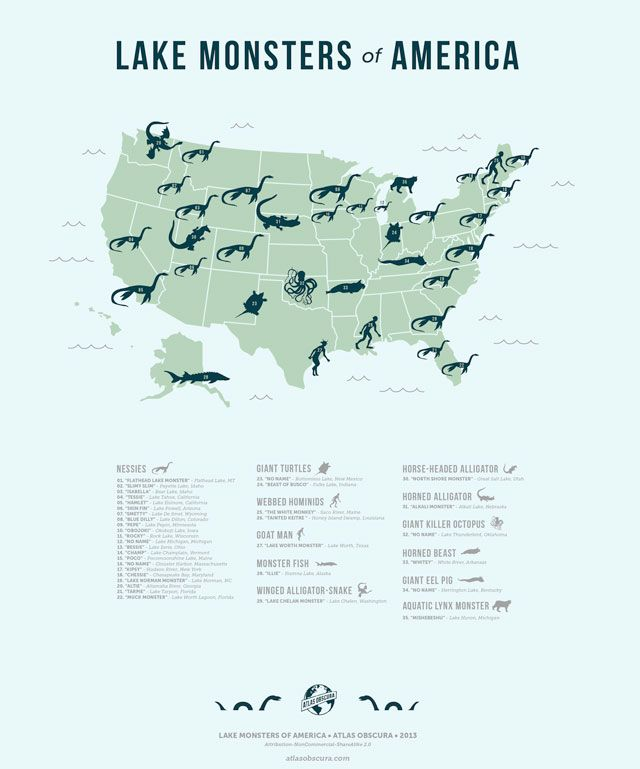 Map of the Lake Monsters of America. I had no idea that Colorado had a Nessi.