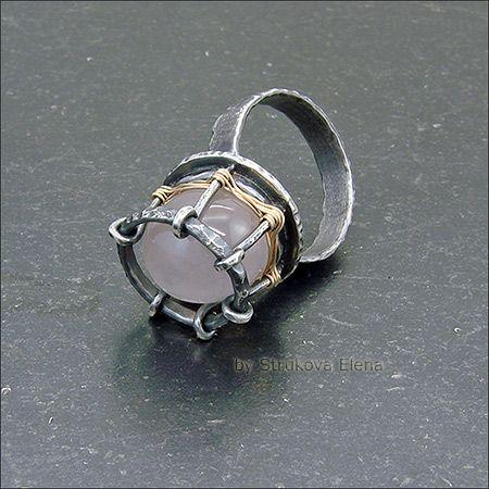 Strukova Elena - авторские украшения - Кольцо с розовым кварцем