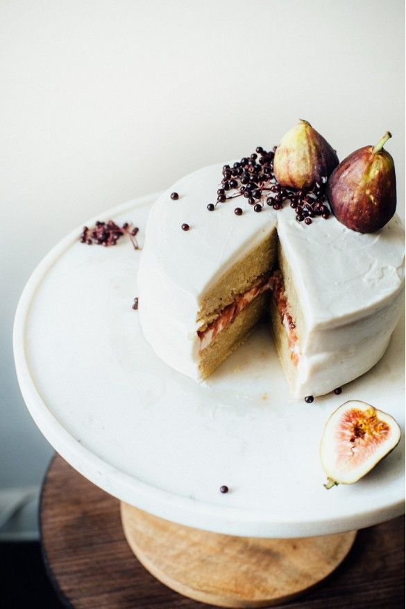 Hazelnut Layer Cake With Fig Compote and Vegan Cream Cheese Frosting