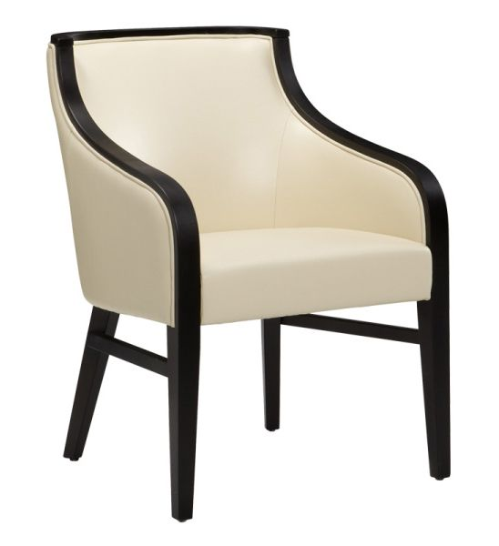 Modern Dining Chair Upholstered In Cream Bonded Leather With Side  Stretchers Reinforce