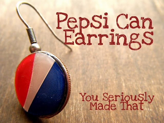 Earrings with a Pepsi can, a dime, and dimensional Modge-Podge.