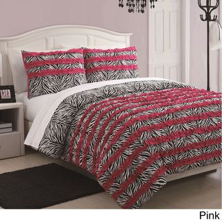 McKenzie 3-piece Zebra Stripe Ruffle Comforter Set | Overstock.com Shopping - The Best Prices on Kids' Comforter Sets